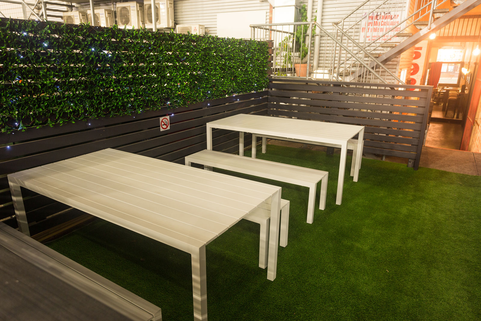 Outdoor seating and tables